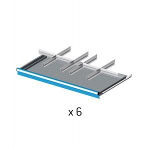 Set divisori metallici per 6 cassetti da 100cm, Flexa
