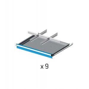 Divisori metallici per 9 cassetti da 72cm, Flexa