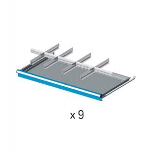 Set divisori metallici per 9 cassetti da 100cm, Flexa