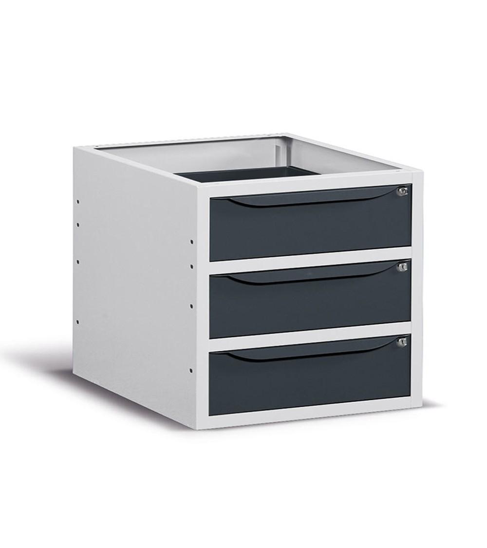 Cassettiera per banco, 3 cassetti, 63 cm, Grigio