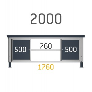 2 cassettiere da 50cm su banco da 200cm