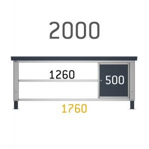 Cassettiera per banco con 1 cassetto e  1 anta per banco da 200cm