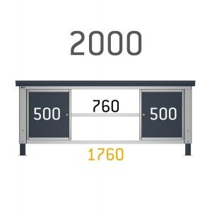 2 cassettiere per banco con 1 cassetto e  1 anta per banco da 200cm