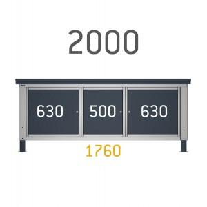 2 cassettiere con 4 cassetti per banco da 200cm