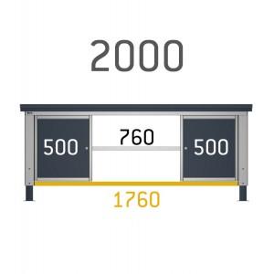 Piano aggiuntivo centrale per banchi Work da 200 cm