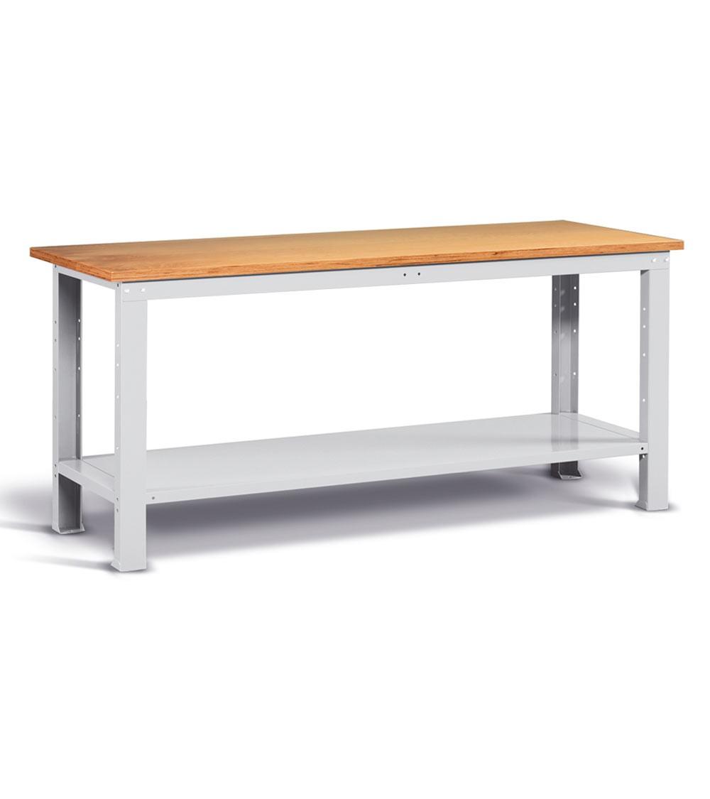 Banco Work con piano in legno, 200cm, Montato, Grigio