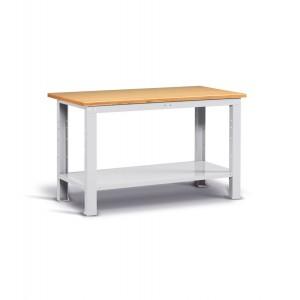 Banco Work con piano in legno, 150cm, Montato, Grigio