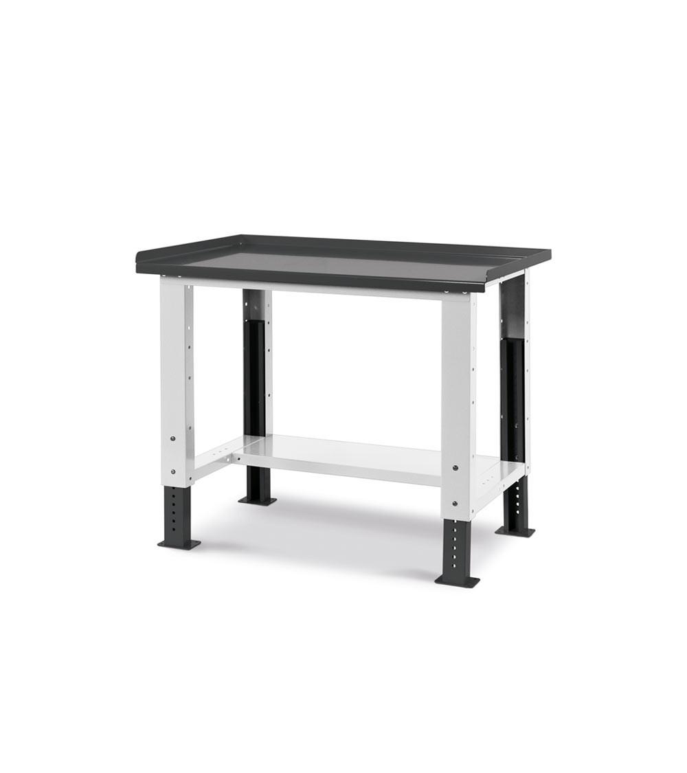 Banco Work Up con piano in acciaio, 100cm, grigio