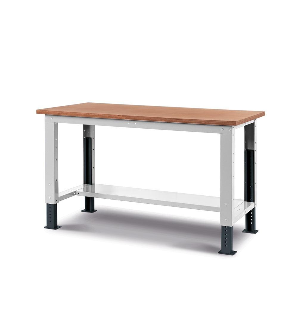 Banco Work Up con piano in legno, 150cm, grigio