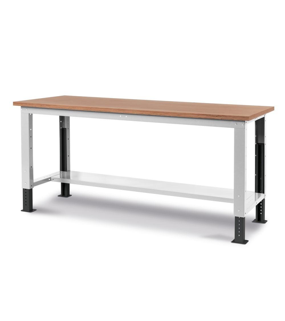 Banco Work Up con piano in legno, 200cm, grigio