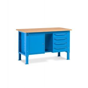 Banco da lavoro Work Up WORK1506 con 1 armadio a cassetti con 4 cassetti e 1 armadio con porta