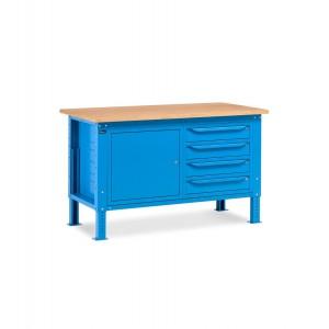 Banco da lavoro Work Up WORK1510 con 1 armadio a cassetti con 4 cassetti e 1 armadio con porta, colore blu