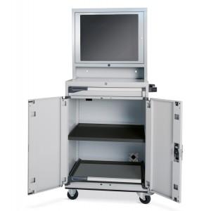 Armadio porta computer con modulo base e modulo porta con finestra in policarbonato