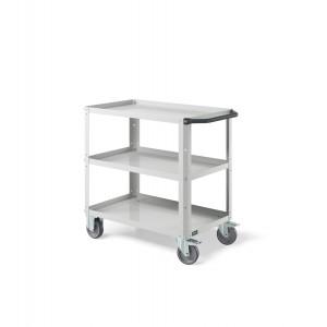 Carrello Clever Small con piano in acciaio aggiuntivo e ruote in gomma antritraccia sintetica CLEVER0907, colore grigio RAL 7035