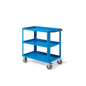 Carrello Clever Small con piano in acciaio aggiuntivo e ruote in gomma antritraccia sintetica CLEVER0908, colore blu RAL 5012
