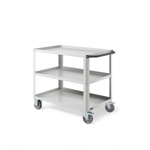 Carrello Clever Large con piano in acciaio aggiuntivo e ruote in gomma antitraccia sintetica CLEVER1007, colore grigio RAL 7035