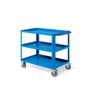 Carrello Clever Large con piano in acciaio aggiuntivo e ruote in gomma antitraccia sintetica CLEVER1008, colore blu RAL 5012