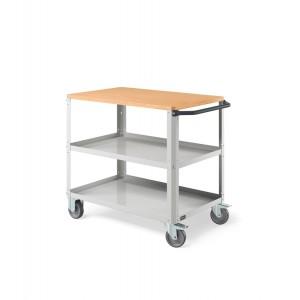 Carrello Clever Large con piano in legno e con piano in acciaio aggiuntivo CLEVER1009, colore grigio RAL 7035
