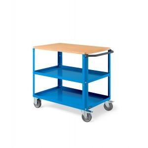 Carrello Clever Large con piano in legno e con piano in acciaio aggiuntivo CLEVER1010, colore grigio RAL 7035