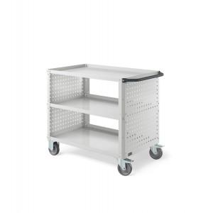 Carrello Clever Large con piano in acciaio aggiuntivo e pannelli forati CLEVER1011, colore grigio RAL 7035