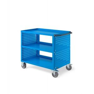 Carrello Clever Large con piano in acciaio aggiuntivo e pannelli forati CLEVER1012, colore blu RAL 5012