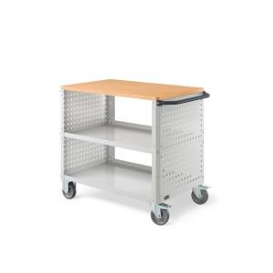 Carrello Clever Large con piano in acciaio aggiuntivo e pannelli forati CLEVER1013, colore grigio RAL 7035