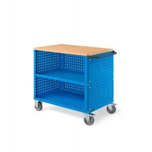 Carrello Clever Large con piano in legno, piano in acciaio aggiuntivo, pannelli forati e pannello forato posteriore CLEVER1016