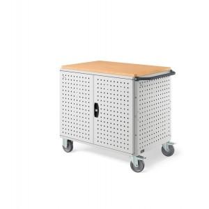 Carrello Clever Large con piano in legno, piano aggiuntivo, pannelli forati e porte   CLEVER1017,  colore grigio