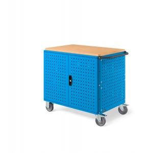 Carrello Clever Large con piano in legno, piano aggiuntivo, pannelli forati e porte CLEVER1018, colore blu
