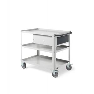 Carrello Clever Large con piano in acciaio aggiuntivo e cassetto CLEVER1019, colore grigio RAL 7035