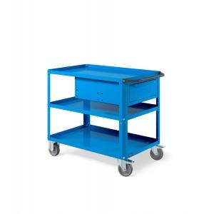 Carrello Clever Large con piano in acciaio aggiuntivo e cassetto CLEVER1019, colore blu RAL 5012