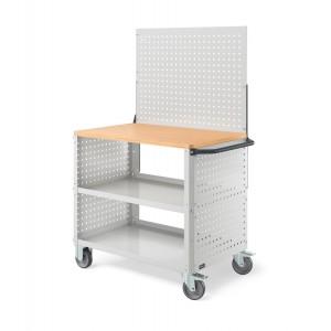 Carrello Clever Large con piano in legno, piano in acciaio aggiuntivo, pannelli forati e parete forata CLEVER1021, colore grigio