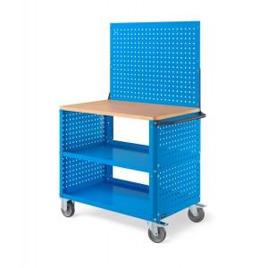 Carrello Clever Large con piano in legno, piano in acciaio aggiuntivo, pannelli forati e parete forata CLEVER1021, colore blu