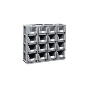 Scaffale completo con 16 contenitori in polipropilene, mis. 3