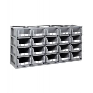 Scaffale Domino con 20 contenitori in plastica misura 4