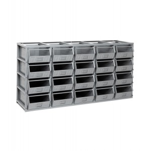 Scaffale serie Domino con 20 contenitori in metallo misura 4