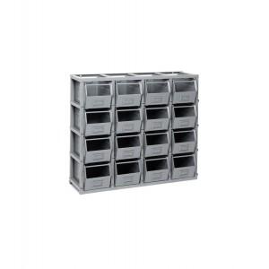 Scaffale serie Domino con 16 contenitori in metallo misura 3