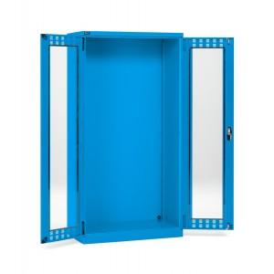 Armadio con ante a battente fessurate in policarbonato 54x27 EH, colore blu RAL 5012