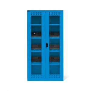 Armadio con ante a battente fessurate in policarbonato 54x27 EH, PERFOM14039, colore blu