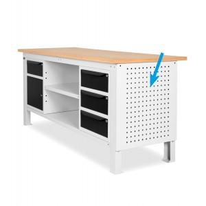 Pannello forato laterale per banchi Work, grigio, esempio di applicazione