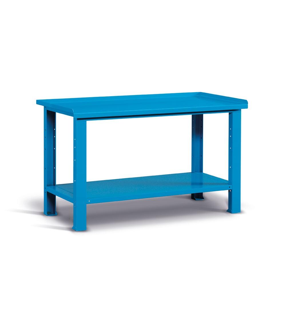Banco Work con piano in acciaio, 150cm, Montato, Blu